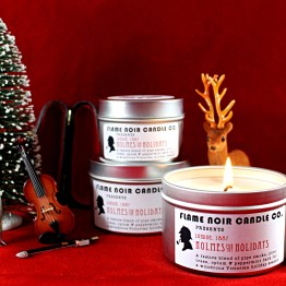Holmes for the Holidays - Sherlock Holmes inspired all natural soy wax candle - Flame Noir Candle Co