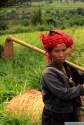 Mujer Pa'O y campos de jengibre detrás