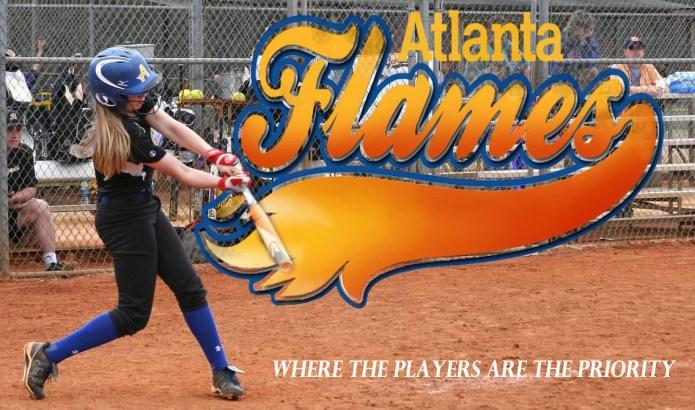 Atlanta Flames Fastpitch softball photograph of 12U softball player hitting ball with logo