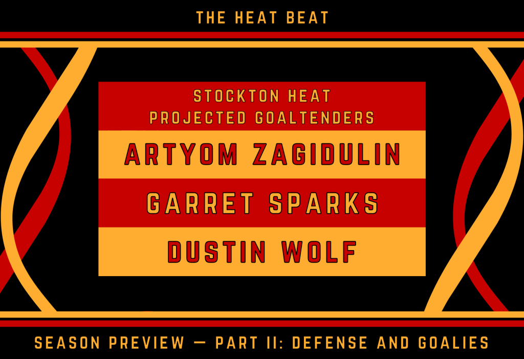 Stockton's goaltending hierarchy to begin 2020-21. It goes Zagidulin, Sparks, Wolf.