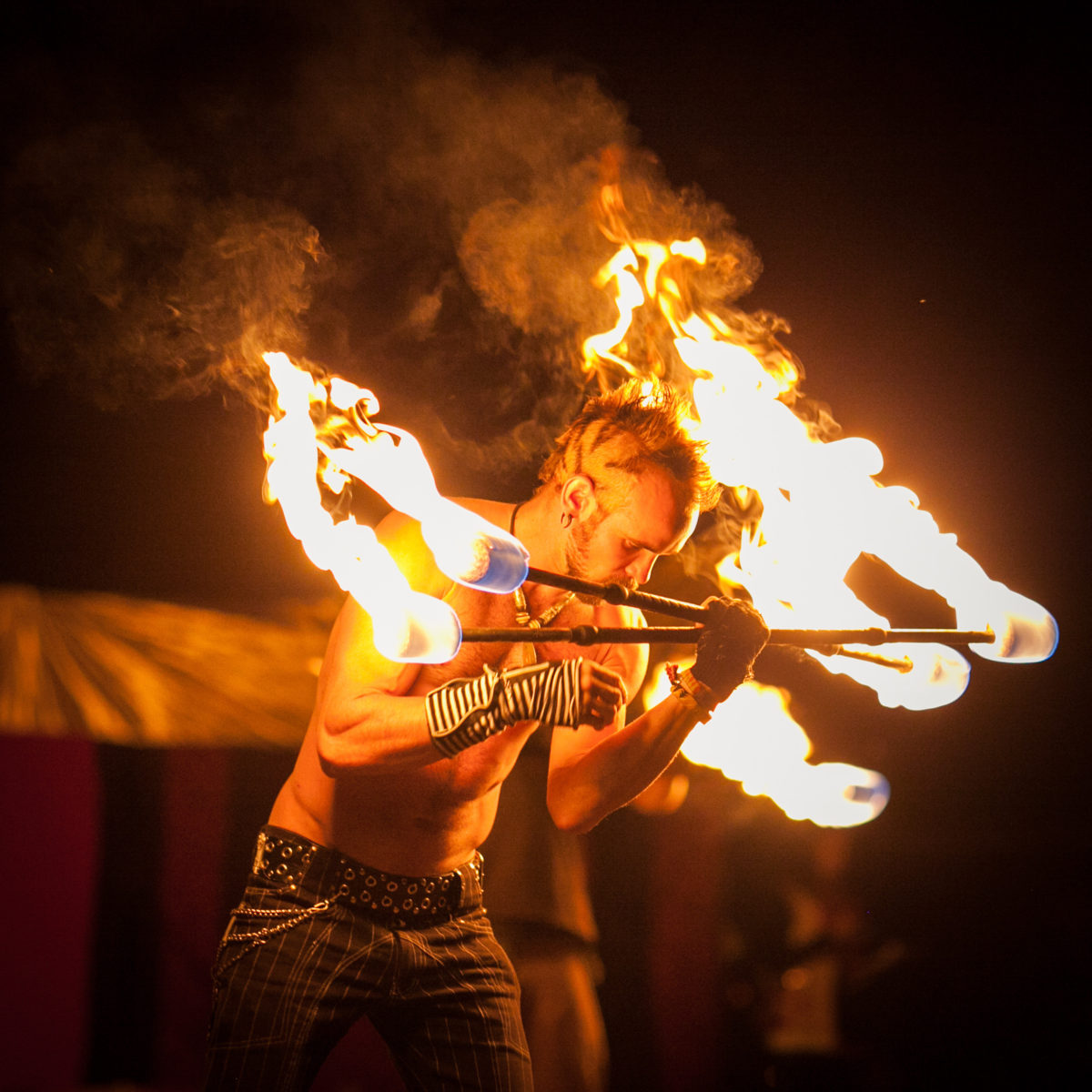 Los Angeles Fire Performer Lester Love Flamewater Circus