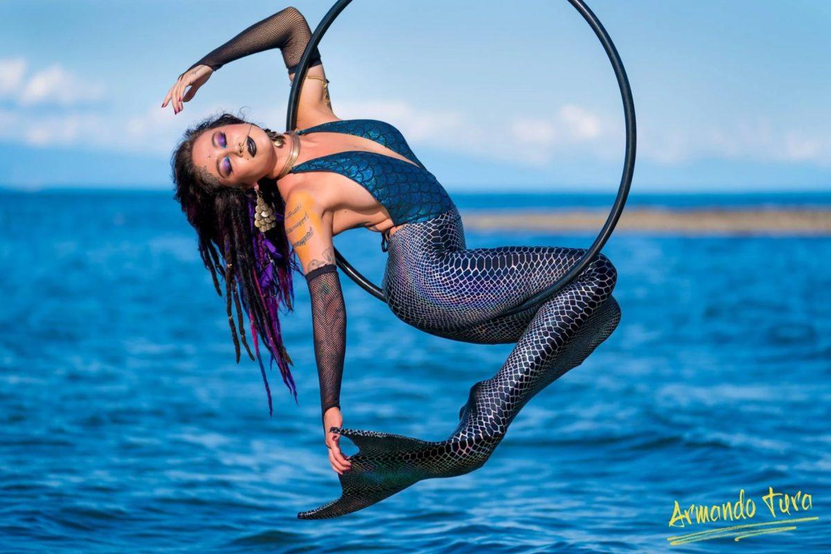 Vancouver Mermaid Aerial Hoop Aerialist Circus Performer Kosmic Kitty Flamewater Circus