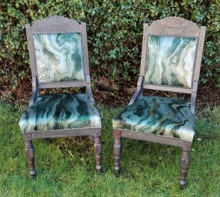 re-upholstered vintage chairs