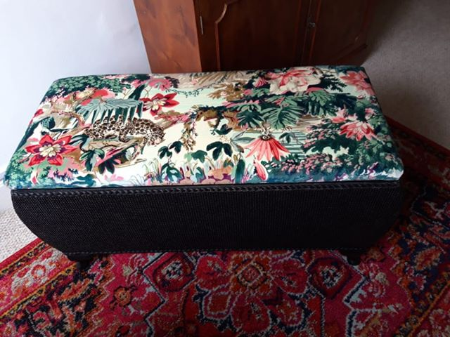 leisure class project ottoman with velvet