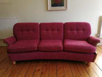 re-upholstered Ercol sofa