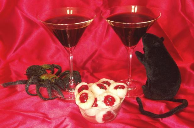 Black Martinis with Devil's Eyeballs