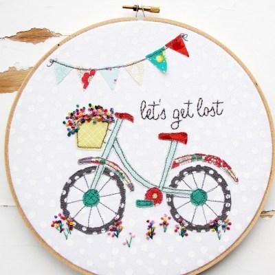 Let's Get Lost Summer Bicycle Embroidery Hoop Art