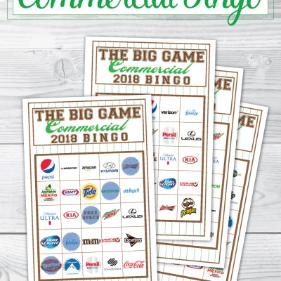 2018 Big Game Commercial Bingo