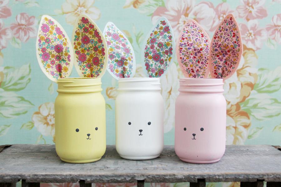 Colorful DIY Bunny Mason Jars