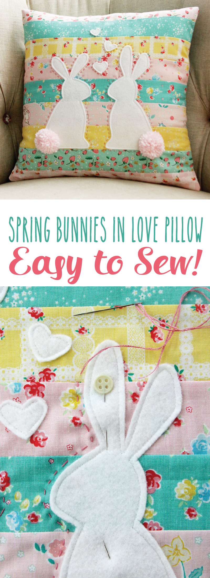 Spring Bunnies in Love Pillow
