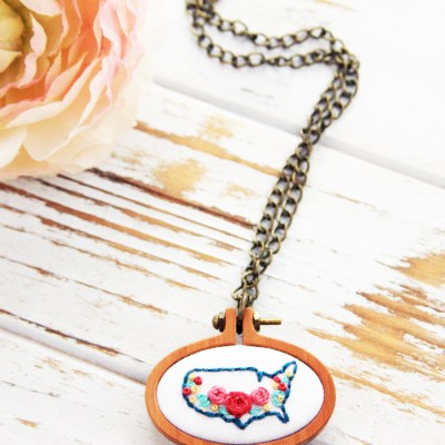 Embroidered USA Map Necklace