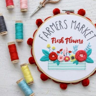 Farmers Market Fresh Flowers Embroidery Hoop Art