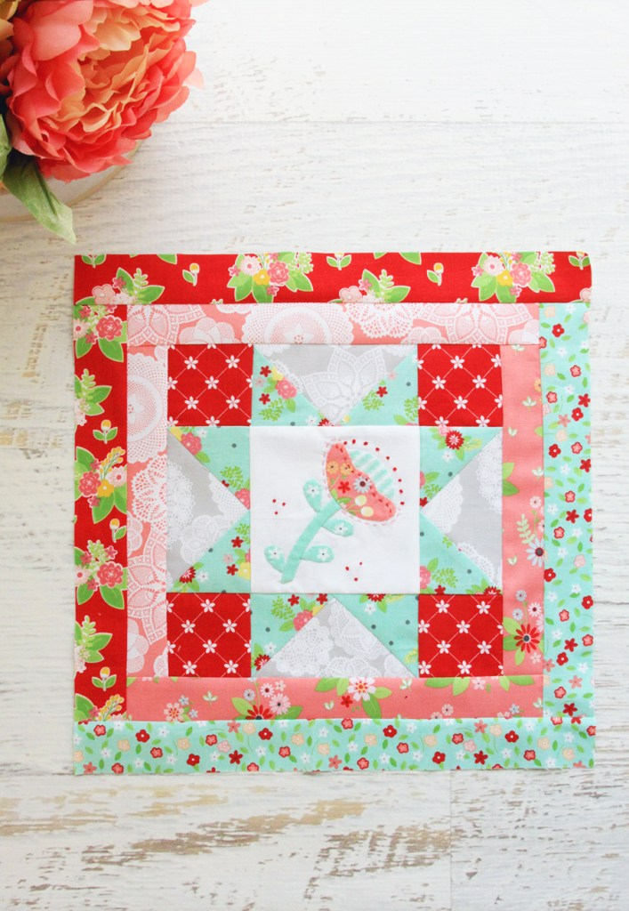 Happy Little Things Quilt Finishing by popular Tennessee quilting blog, Flamingo Toes: image of block one of a Happy Little Things Quilt.