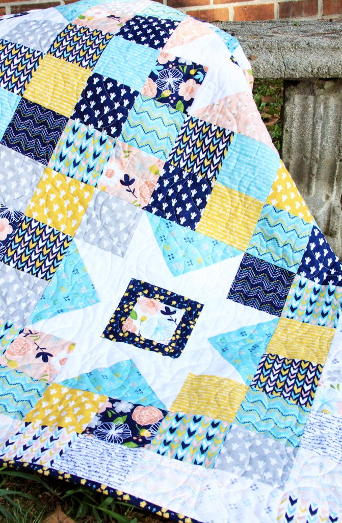 2019 Top Ten Quilting and Sewing Projects! by popular Tennessee quilting blog, Flamingo Toes: image of a starry skies quilt.