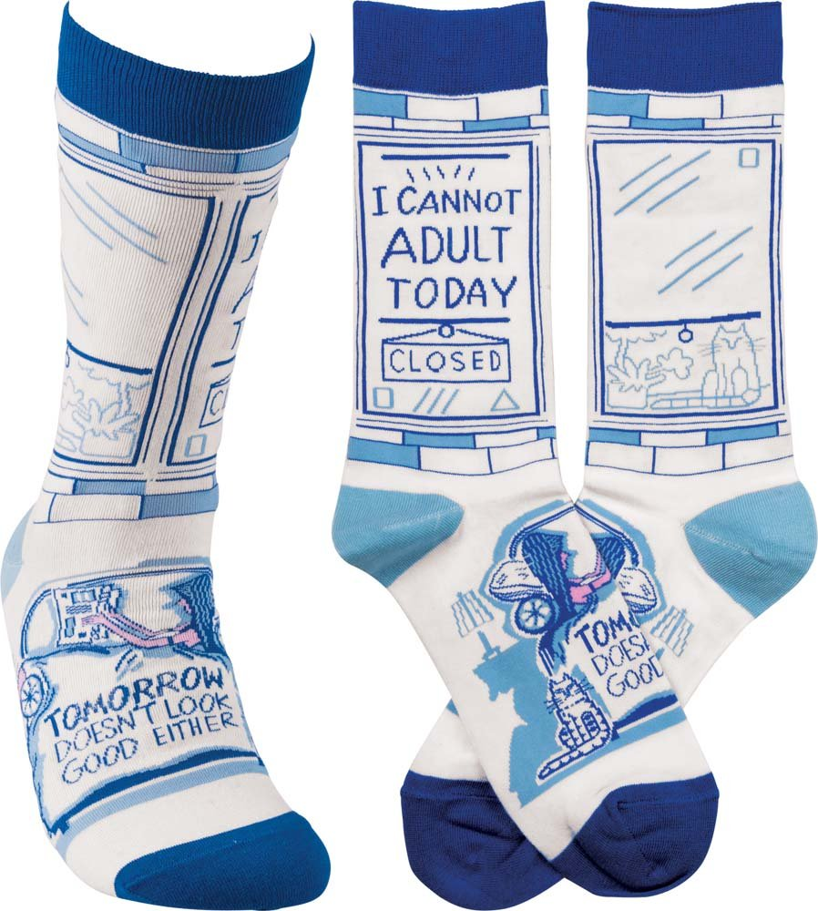 """Gift Ideas for """"Grown Ups""""! by popular Tennessee life and style blog, Flamingo Toes: image of can't adult today socks."""