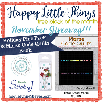 Happy Little Things Quilt Block 4 by popular quilting blog, Flamingo Toes: image of Happy Little Things digital add.
