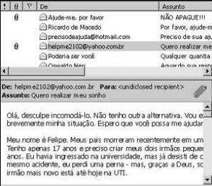 """Modelo de e-mail de """"web-mendigo"""" que se espalhavam via internet"""