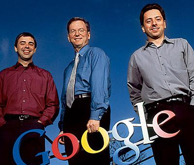 Eric Schmidt  Larry Page  Sergey Brin Google