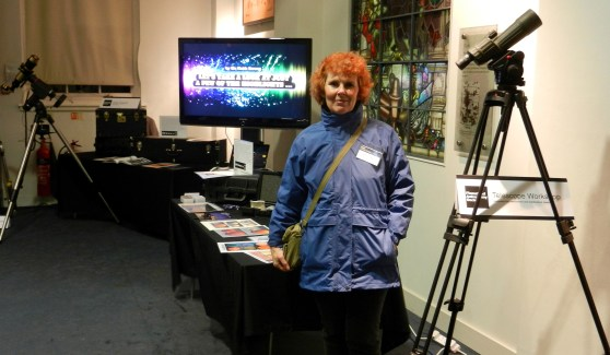 Kathy stands ready for the crowds at the Solar Observing stand