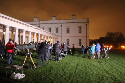 Telescopes set up on the lawn