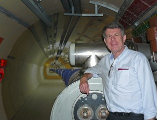 Mike D in front of the LHC mock-up