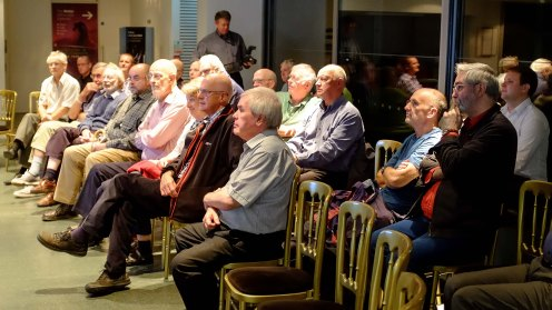 The Flamsteed audience listen intently to Bill's talk