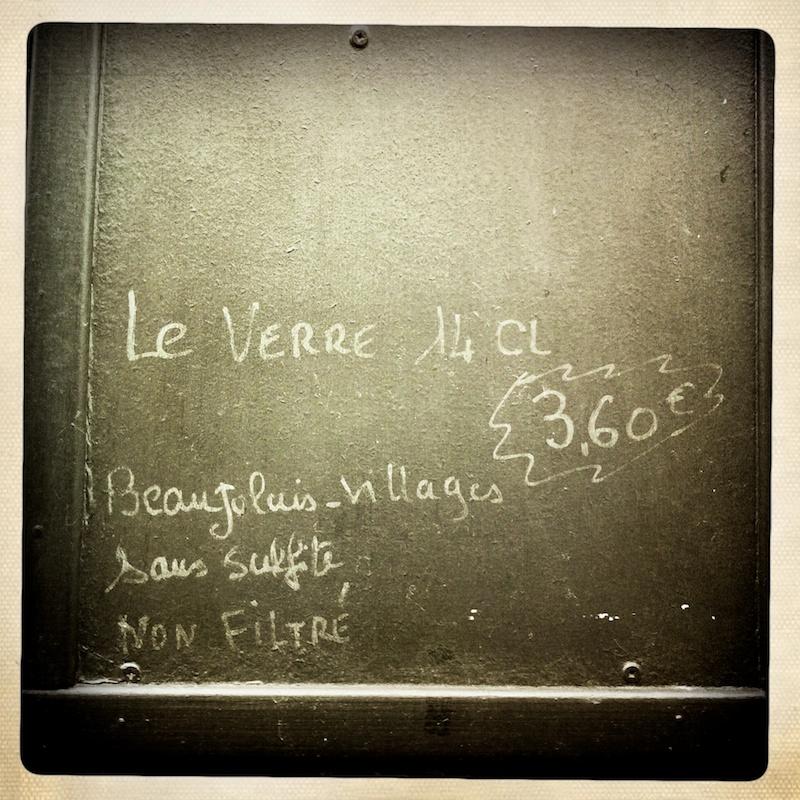 Un verre de 14cl de Beaujolais-Villages (sans sulfite, non filtre?) pour 3,60€