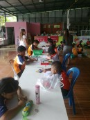 The kids drawing contest at school in celebration of Loy Krathong.