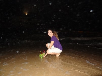 Releasing my Krathong into the ocean (I couldn't find a river).