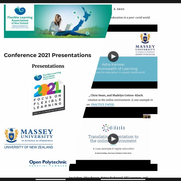 Screenshot of flanz2021 conference video page