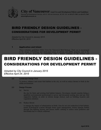 Bird Friendly Design Guidelines