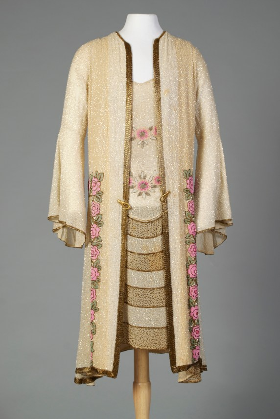 French, Jean Patou, ca. 1926-1927. One of Patou's romantic ensembles, completely beaded on cream chiffon.