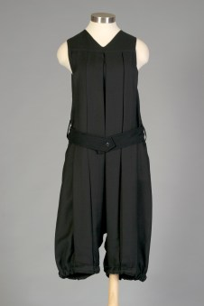 American, ca. 1925-1929. Black wool twill one piece gym suit.