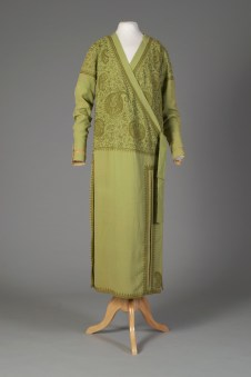 French, House of Worth, ca. 1925-1929. Lime green silk crepe embroidered with paisley pattern, wrap dress.