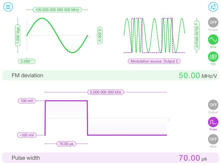 Flash Photonics Liquid Instruments Moku:Lab Waveform Generator Software on Tablet