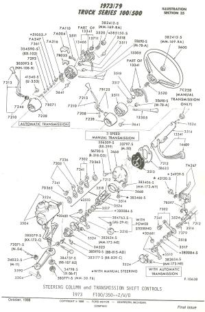 Flashback F100's  Steering Column Parts & All Associated