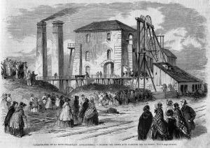 Engraving of the 1862 Hartley Colliery disaster: handing over bodies to relatives of victims
