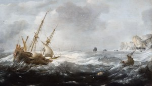 Detail from 'Ships in a Storm on a Rocky Coast' by Jan Porcellis