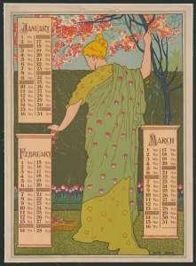 Calendar for January, February, March