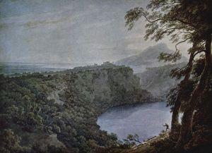 Illustration (pencil and water colour) of Lake Nemi by John Robert Cozens, circa 1777.