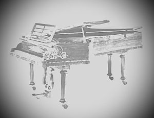Black and white image of a transparent piano.