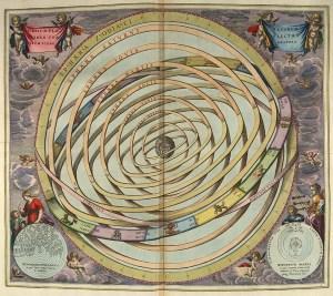 "Print of Ptolemaic orbits, from ""Harmonia Macrocosmica"" by Andreas Cellarius, 1661."