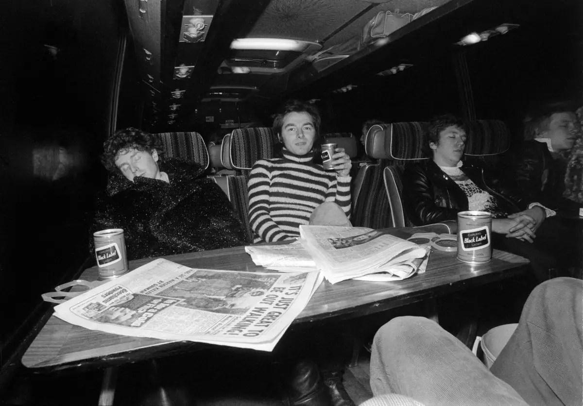 Anarchy Tour bus. Dec 1976. Malcolm McLaren and The Sex Pistols.