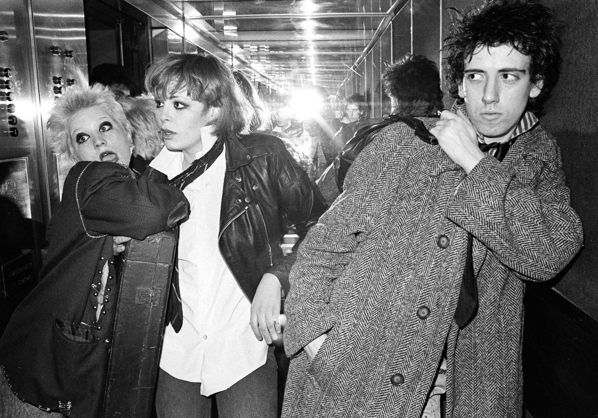 The Clash - Mick Jones with Debbie Juvenile and Tracey. Anarchy Tour, Britain - 1976