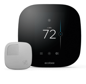 The Ecobee3 Smart Thermostat and remote sensor.