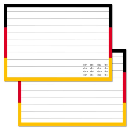 German Leitner flashcards A7 size