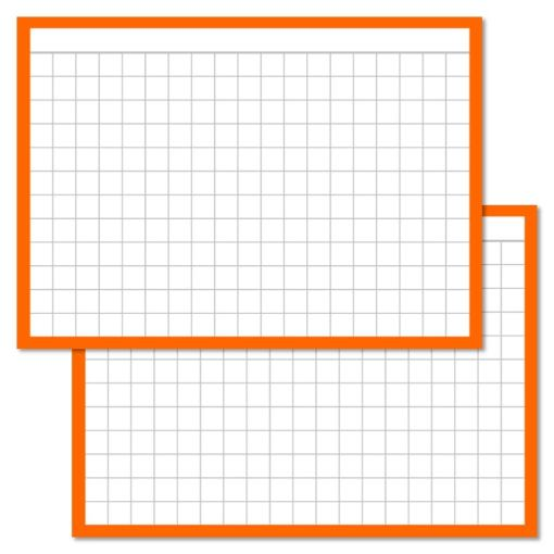 Checkered Orange Leitner flashcards A7 size