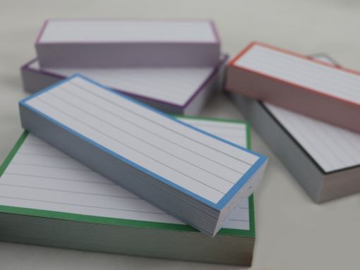 Giftpack 150 A7 flashcards 150 Halve flashcards - blue red purple lilac green