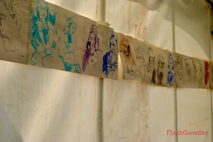 Drawings made by students at the Royal Drawing School tent.