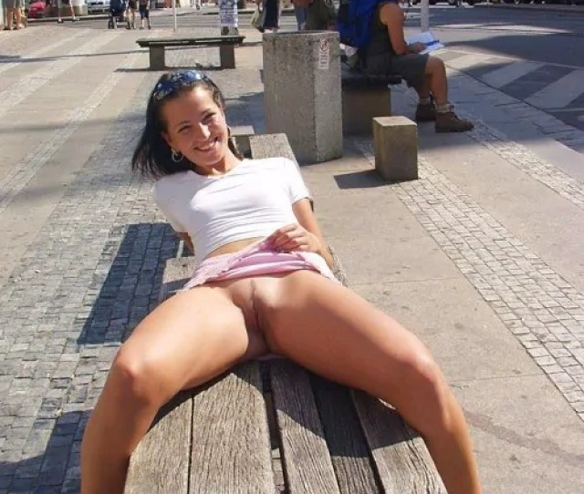 Bare Pussy And Big Smile On Bench